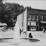 A 1930s photo of a small town square