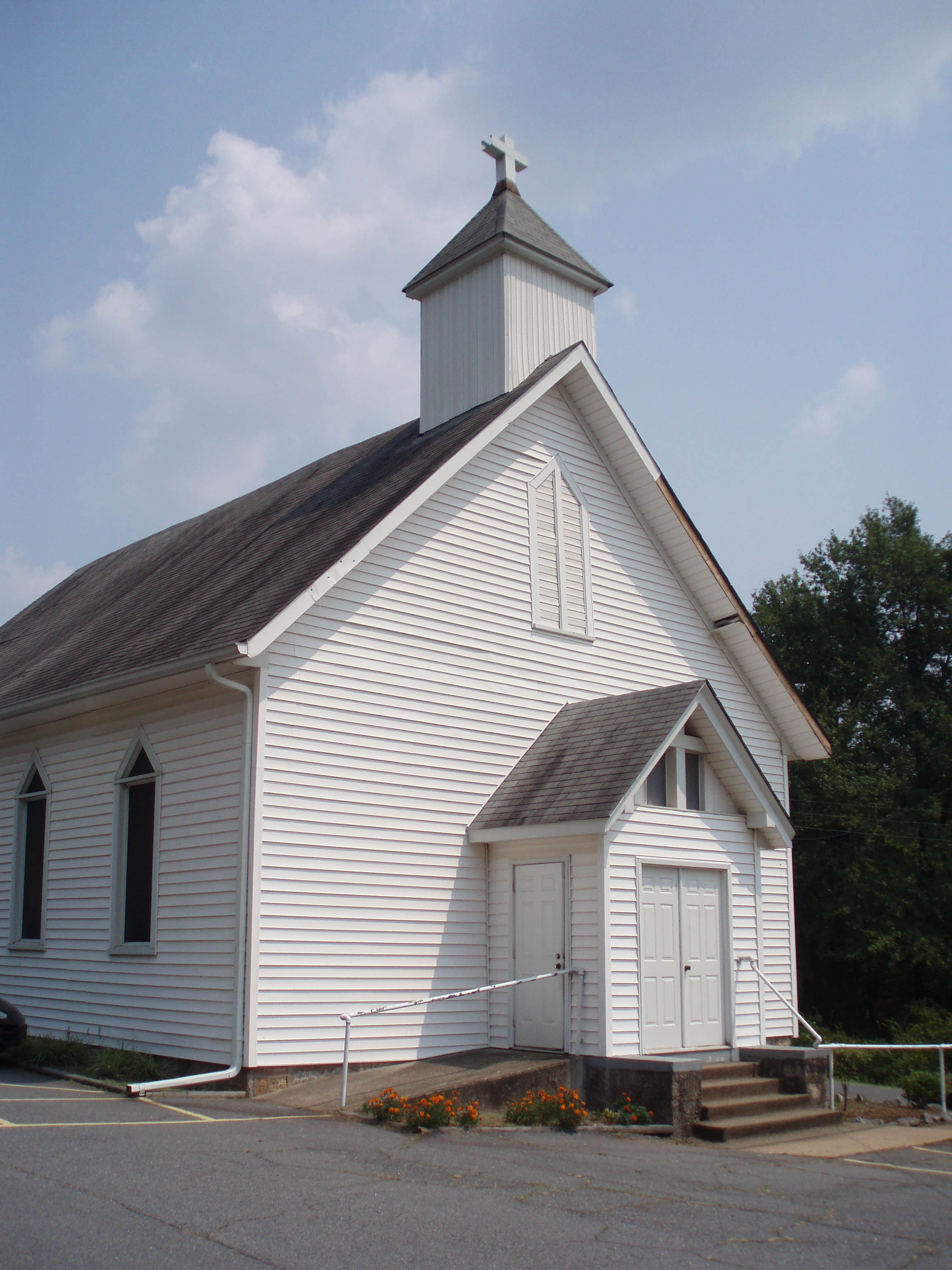 Exterior shot of front of church