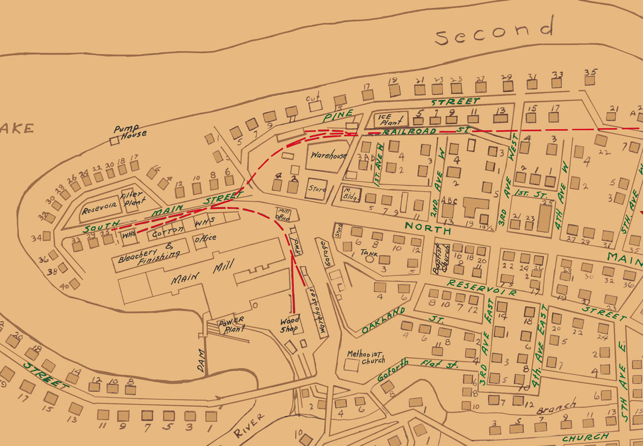 Section showing streets in downtown and many of the adjoining street. Cliffside Mills occupies a large portion of this map section.