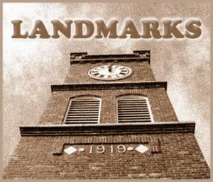 Logo for Landmarks section showing town clock