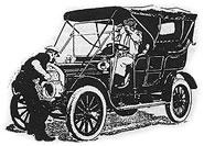 Sketch of man hand-cranking his car