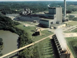 Aerial view of the entire plant complex along a bend o Broad River.f