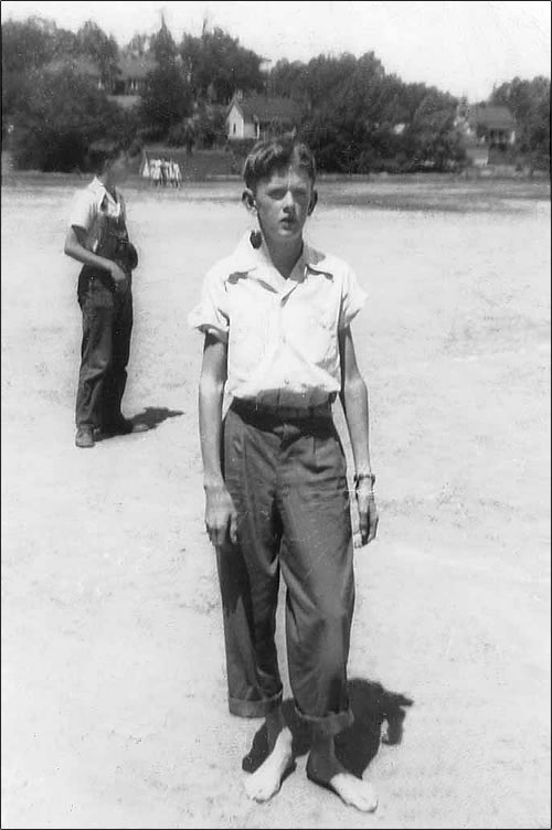 It's probably the late 1940's. He's barefoot.