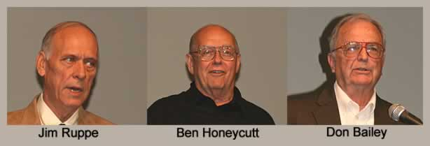 photos of Jim Ruppe, Ben Honeycutt and Don Bailey