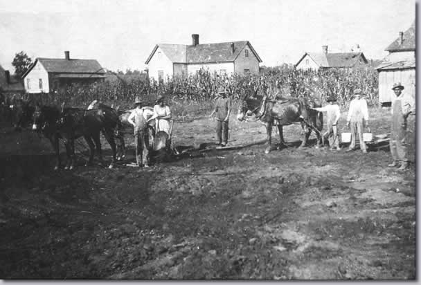 Farmers with mules at edge of tilled field. Beyond is corn patch and group of mill houses.