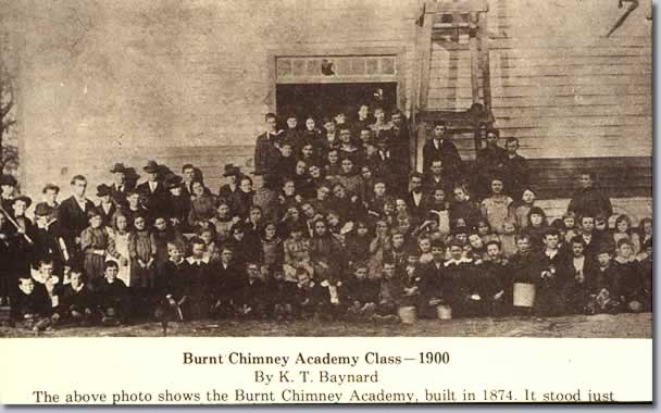 Burnt Chimney Academy Class - 1900. Large group in front of academy building built in 1874.