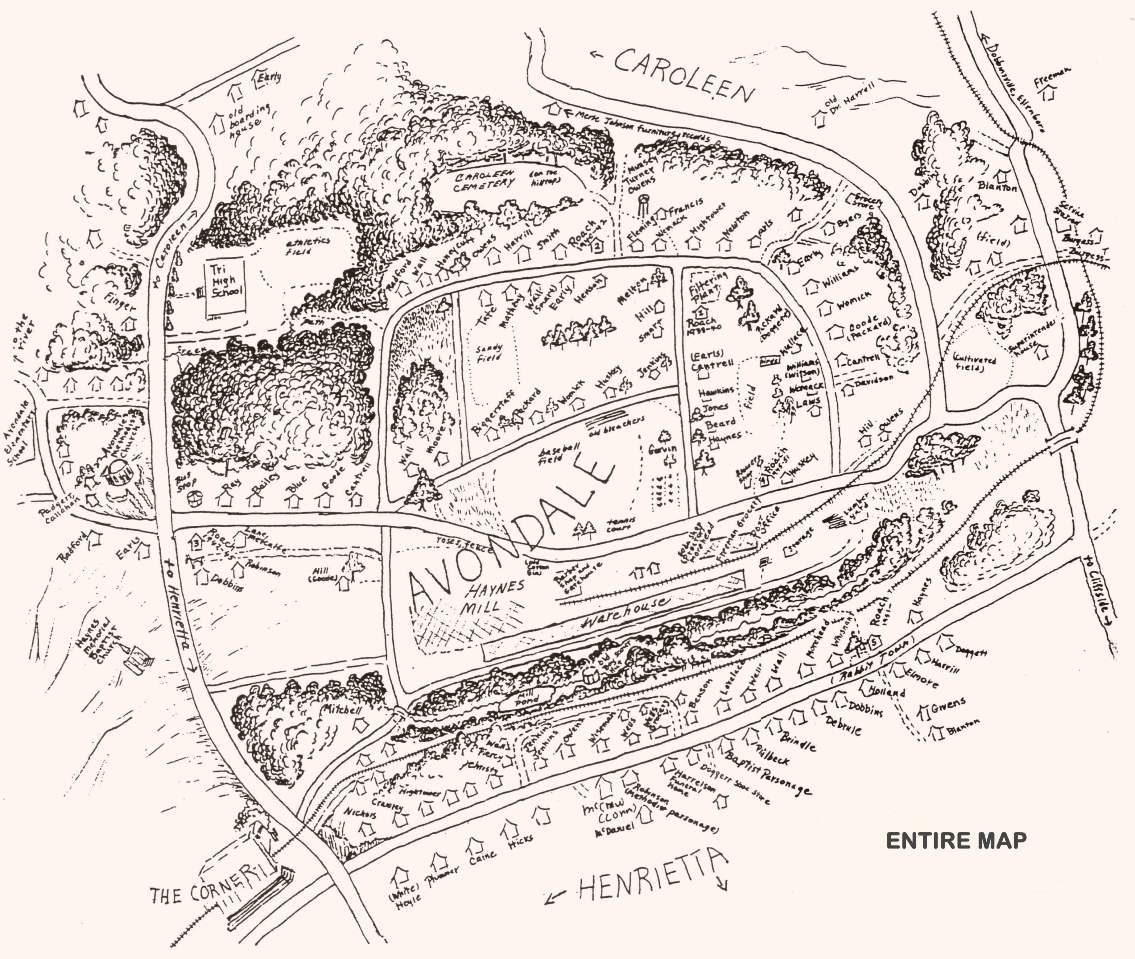 Large drawn map of tiny village of Avondale