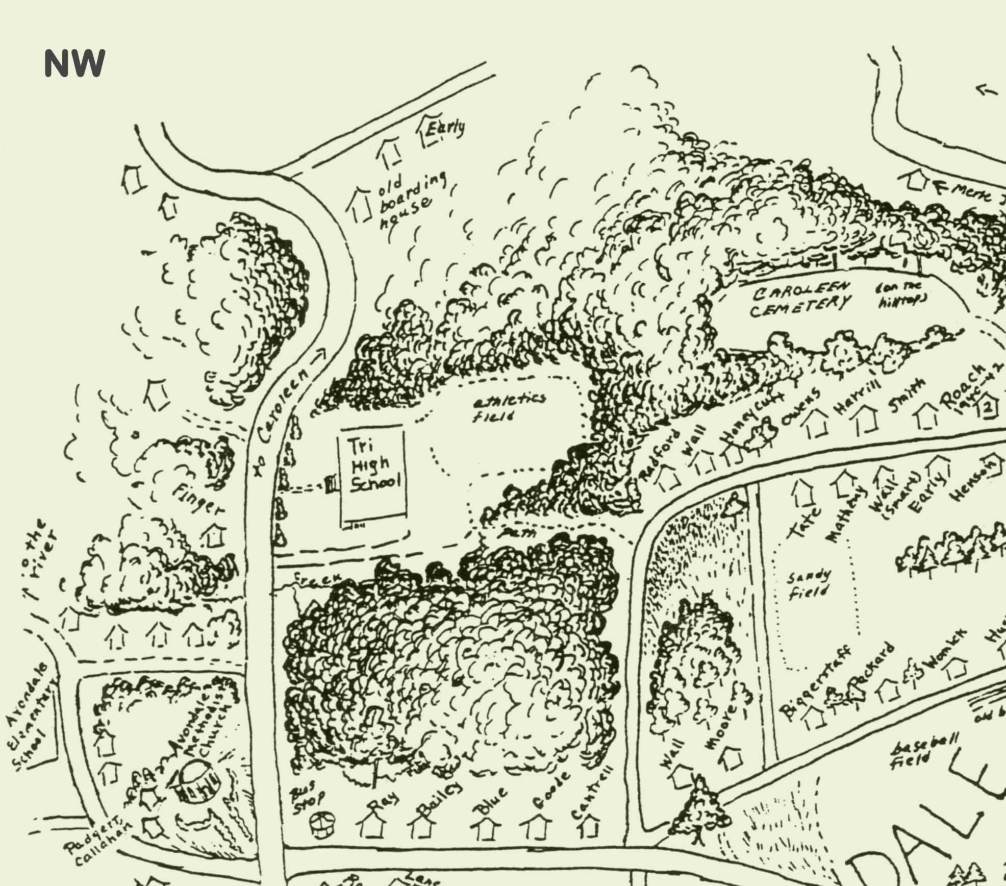 The northwestern quadrant of the map