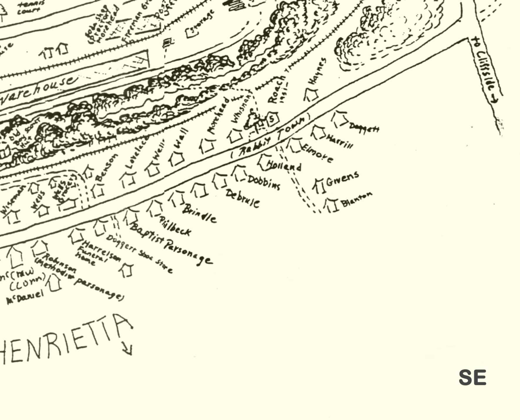 The southeastern quadrant of the map