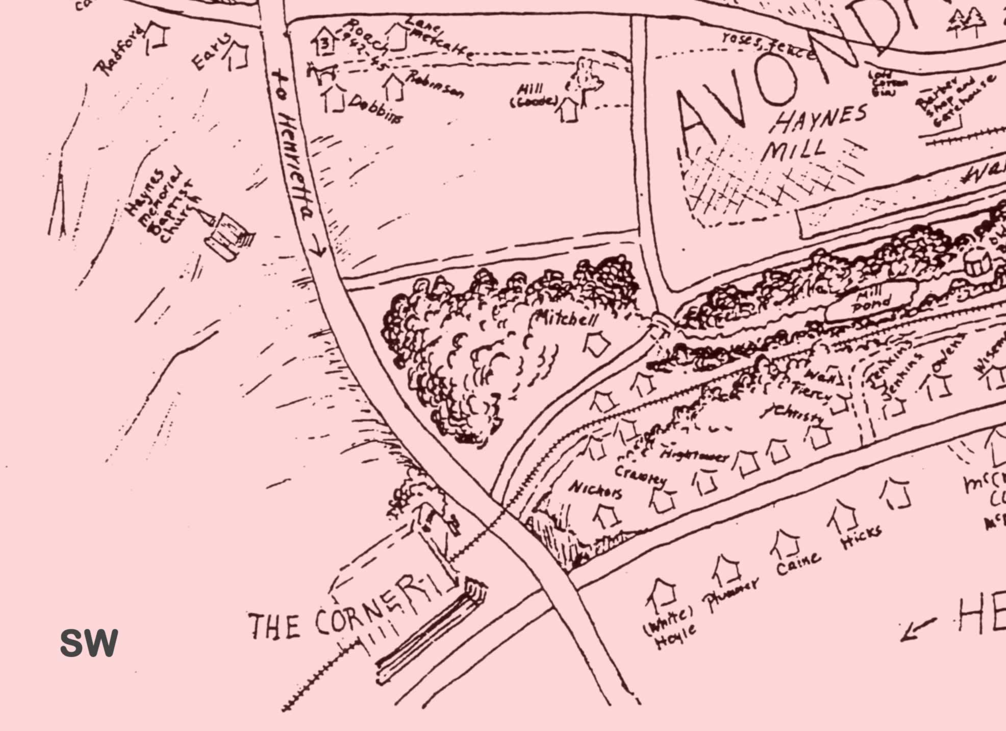 The southwestern quadrant of the map