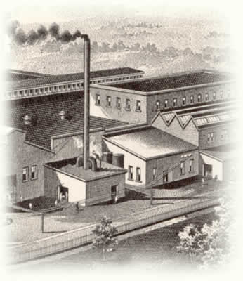 A drawing of a birds-eye view of a large factory.