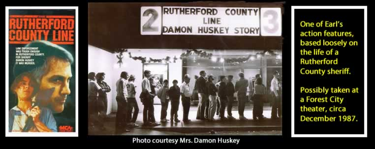 """Image of movie poster for """"Rutherford County Line."""" Photo of moviegoers in front of theater waiting to see the film. Panel of text reading """"One of Earl's action features, based loosely on the life of Damo Huskey, a former Rutherford County sheriff. Photo possibly taken at a Forest City theater, circa December 1987."""