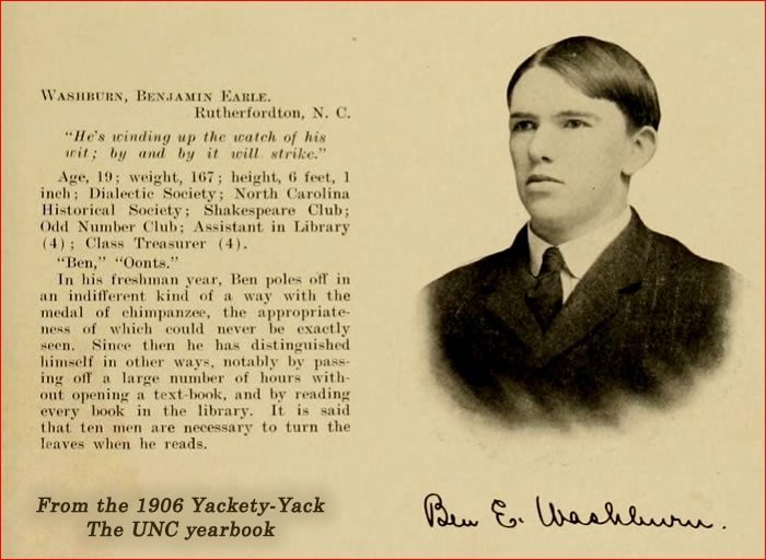 Dr. Washburn's photo and blurb from the 1906 UNC yearbook.