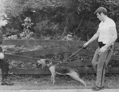 Lawman wth bloodhound on leash.