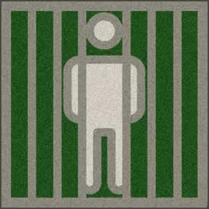 Clipart of inmate peering through prison bars.