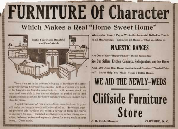 Cliffside Furniture Store ad
