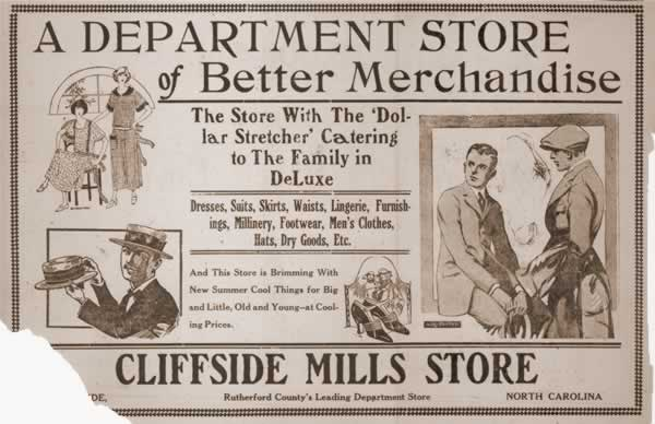 Cliffside Mill Store ad