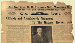 A tattered fragment of the actual front page of the paper. Headline reads 'Cliffside and Avondale--a monument to the historic Haynes family.""