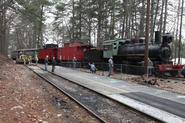 Another view of the train in a work area.