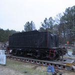 A wide shot of the tender, still on the trailer.