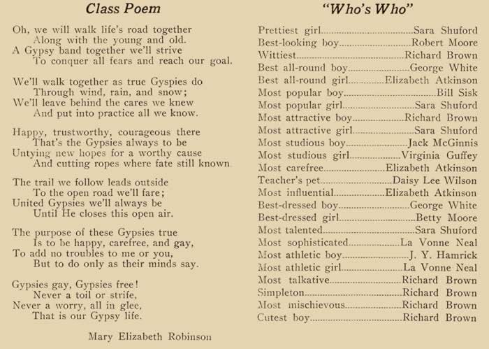 The class poem in left column, the superlatives on right.