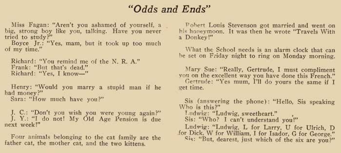Odds and ends: a page of mostly corny jokes.