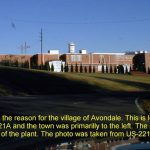 This is Cone Mills, the reason for the village of Avondale. This is located on the north side of US-221A and the town was primarily to the left. The old Post Office just on the far side of the plant. The photo was taken on from US221A. 12/1/99