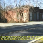 The Union Mills Post office in downtown Union Mills, NC, which is located in the northern part of the county a mile or so east of US-221. 12/4/99
