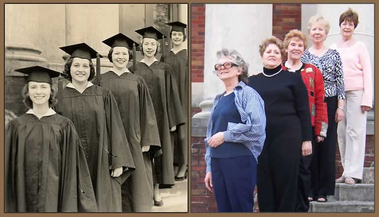 Two photos: the left one from 1957  of four grads on steps. The right photo of same girls in same positions 50  years later.