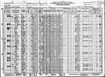A hand-written census form of over 50 individuals and all their data.