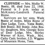 Bostic, Mollie W., June 22, 1988