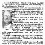 Crow, Rev. C. C., Sep. 23, 1981