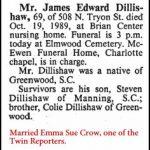 Dillishaw, James Edward, Oct. 19, 1989