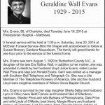 Evans, Geraldine Wall, June 20, 2015