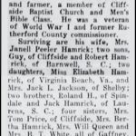 Hamrick, Carvus P., May 13, 1961