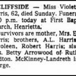 Harris, Violet, Oct. 6, 1985