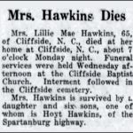 Hawkins, Lillie Mae, Jan. 23, 1956