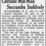 Haynes, Robert, Jan. 10, 1930