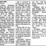 Hicks, Erlene Carpenter, May 1, 2009
