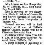 Humphries, Lorena Walker, May 8, 2004