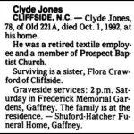 Jones, Clyde, Oct. 1, 1992