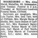 Mahaffee, Alma Marsh, Aug. 6,1985