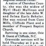 Mullinax, Flossie Beheler, Mar. 11, 1997