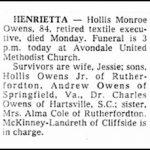 Owens, Hollis Monroe, Sr., Nov. 17, 1980
