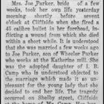 Parker, Mrs. Joe, Oct. 31, 1922
