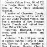 Price, Genelle Yelton, July 27, 2002