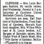 Radford, Lexie Burgess, Jan. 23, 1985