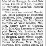 Scruggs, Johnnie Mae Mintz, Dec. 6, 1980