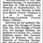 Scruggs, Mae Stephens, Sep. 28, 1988