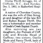 Scruggs,OreliaThrift, Dec. 5,1993